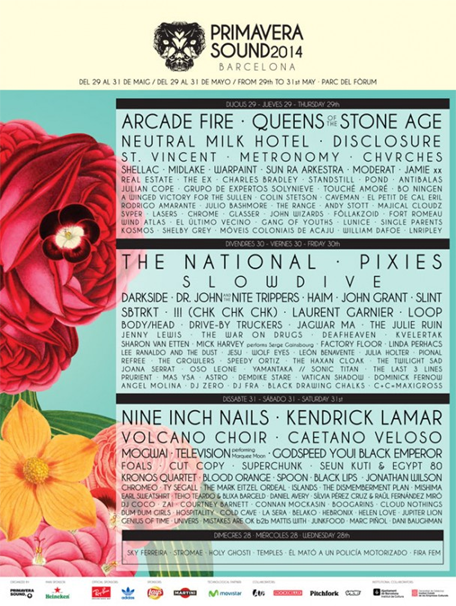Primavera Sound 2014 cartel